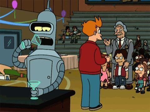 Per Bender di Futurama i cocktail sono carburante