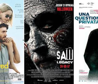 I poster dei film Gifted - Il Dono del Talento, Saw: Legacy e Una Questione Privata