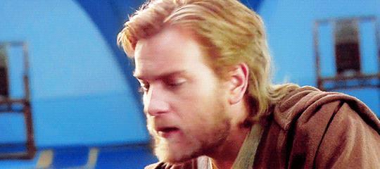 Ewan McGregor durante le riprese di Star Wars