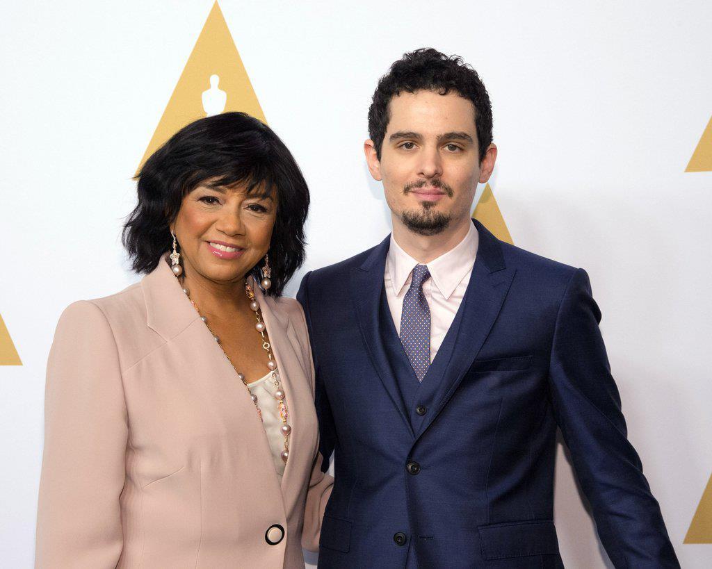 Cheryl Boone Isaacs e Damien Chazelle (nominato agli Oscar per la migliore regia)