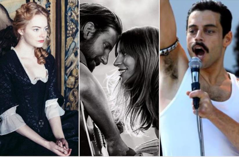 Collage tra La favorita, A star is Born e Bohemian Rhapsody