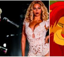 Collage tra Elton John, Beyoncé e Il Re Leone