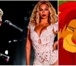 Collage tra Elton John, Beyoncé e Il Re Leone