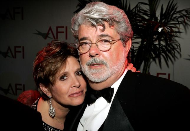 Carrie Fisher e George Lucas a un evento ufficiale