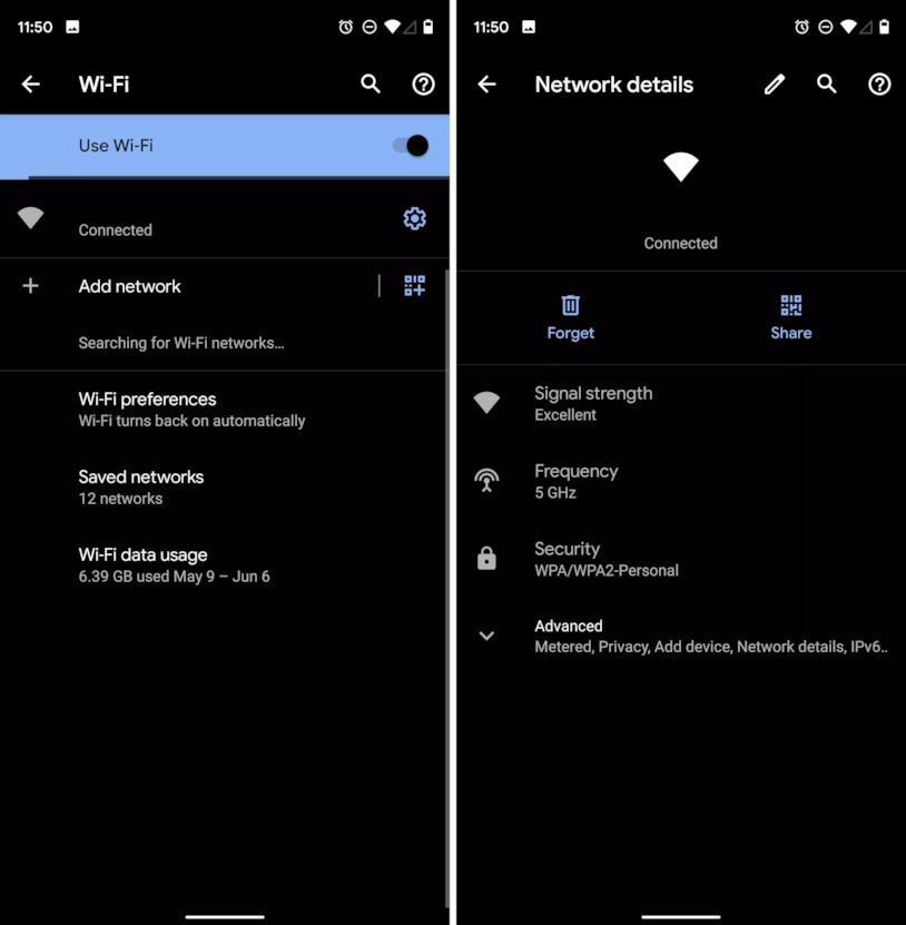 Le impostazioni interne di Android 10 per la rete Wi-Fi