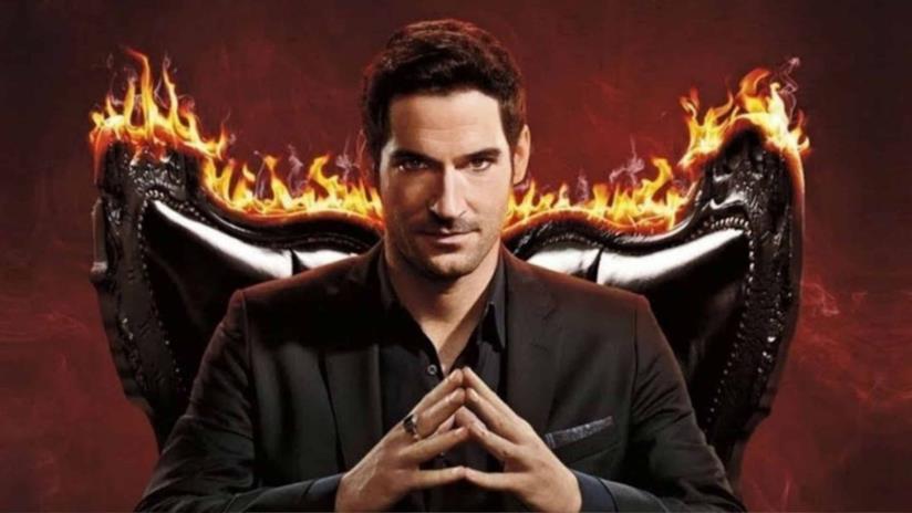 Primo piano di Tom Ellis come Lucifer
