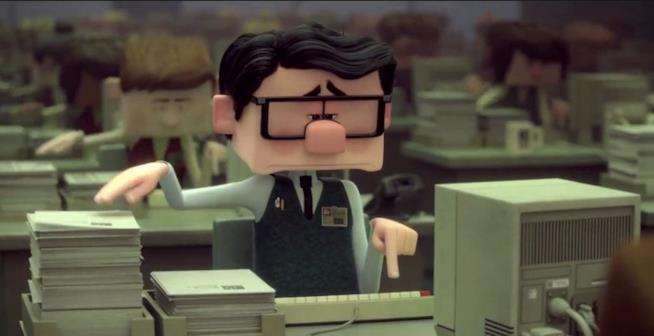 Paul nel suo ufficio nel corto Testa o Cuore