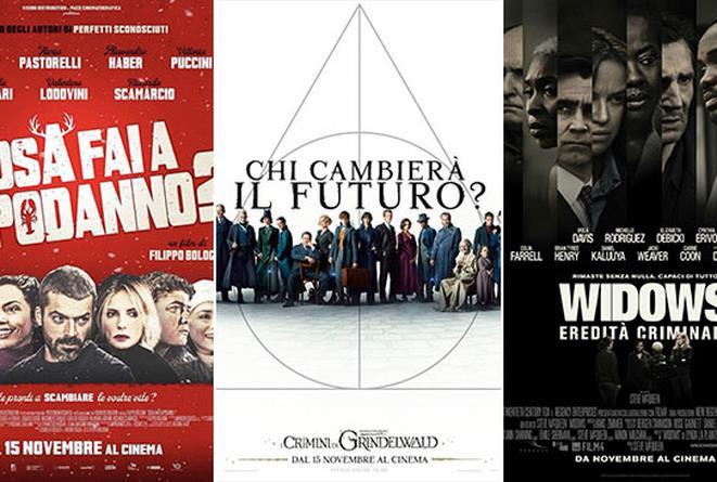 I poster dei film Cosa fai a Capodanno?, Animali fantastici 2, Widows - Eredità criminale