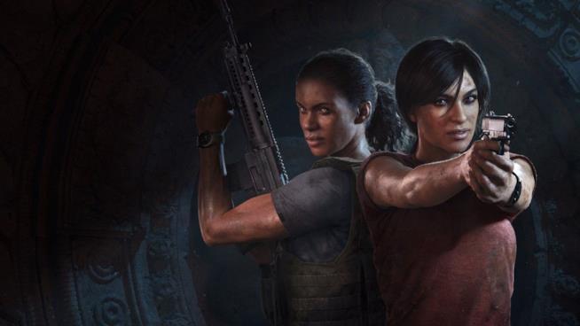 Nadine e Chloe in azione sulla cover di Uncharted: The Lost Legacy