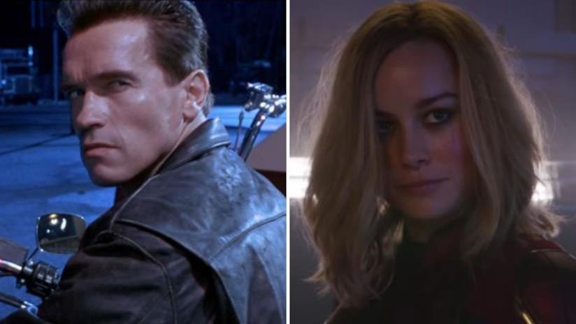 A sinistra Schwarzenegger nei panni di Terminator, a destra Brie Larson nel ruolo di Capitan Marvel