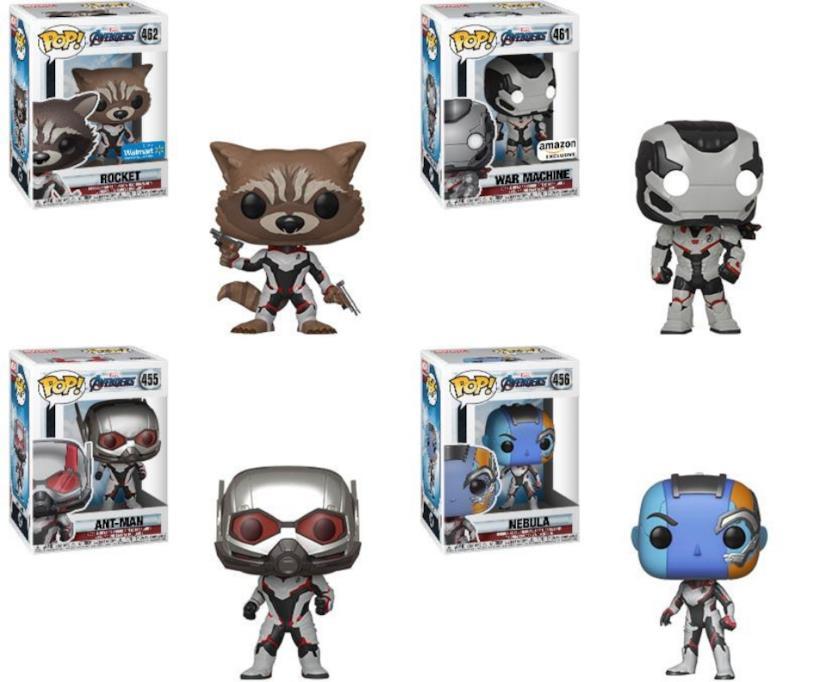 Rocket, War Machine, Ant-Man e Nebula in versione Funko Pop! con le tute bianche