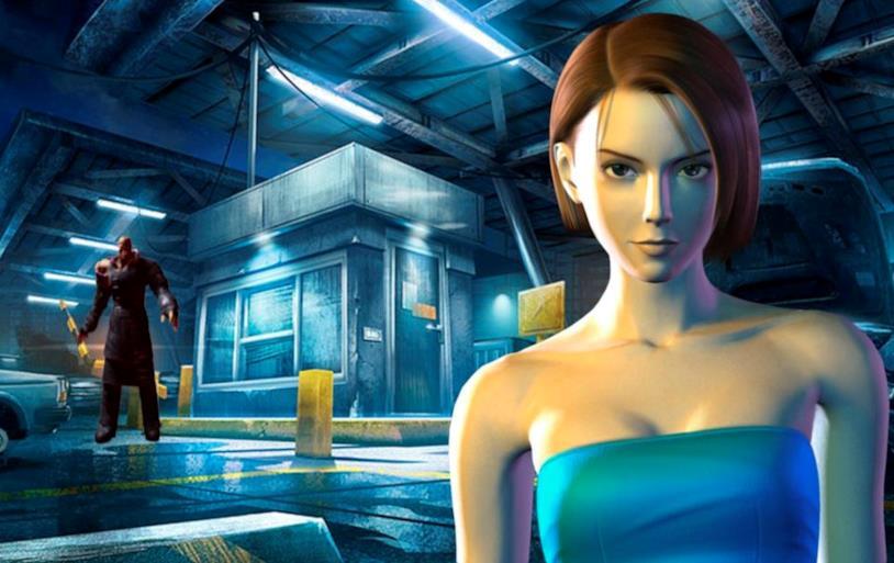 Un poster di Resident Evil 3, con Nemesis e la protagonista Jill Valentine