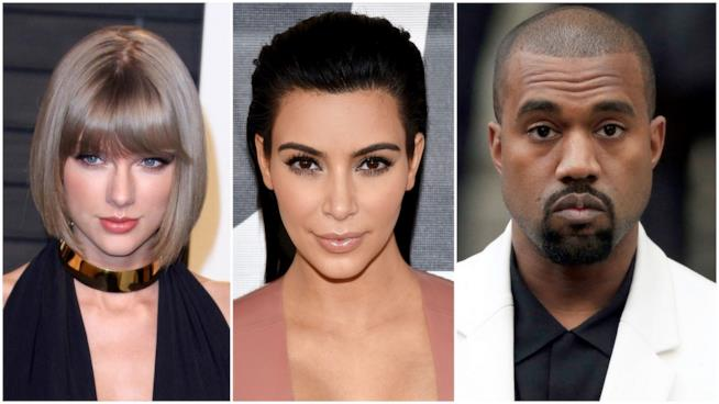 Primo piano di Taylor Swift, Kim Kardashian e Kanye West