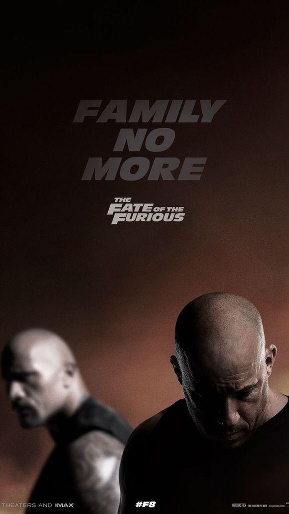 Uno dei poster promozionali di Fast & Furious 8, con Vin Diesel e The Rock