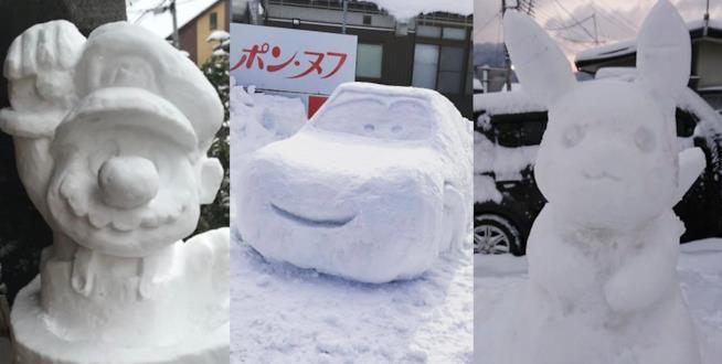 Mosaico di tre foto che mostrano alcuni dei pupazzi di neve creati dagli abitanti di Tokyo