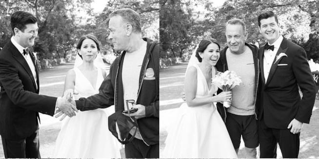 Tom Hanks photobomba il matrimonio di due estranei