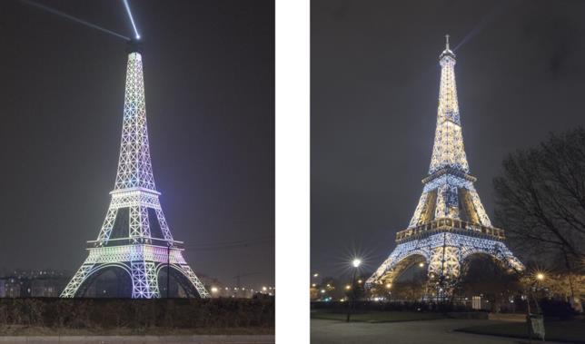 Confronto fotografico tra la Tour Eiffel a Tianducheng (sinistra) e a Parigi (destra)