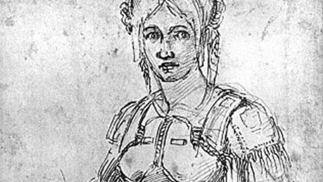 Primo piano dell'autoritratto di Vittoria Colonna a opera di Michelangelo