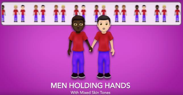 Screen dell'emoji di una coppia formata da persone con diverso colore della pelle