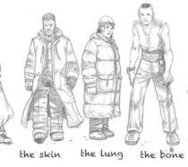 Sketch in bianco e nero di alcuni personaggi dei fumetti