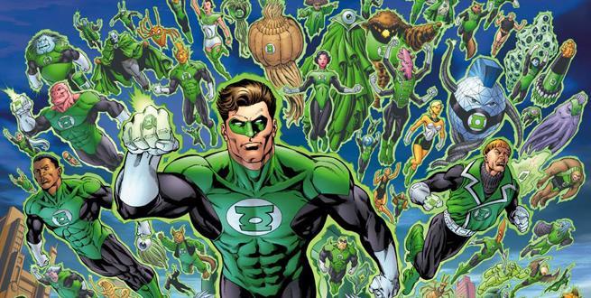 Pagina disegnata con tutti i membri del Corpo delle Lanterne Verdi in volo
