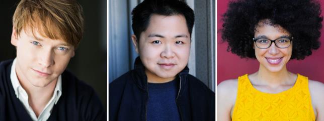 Gli attori Calum Worthy, Matthew Moy e Kate Comer
