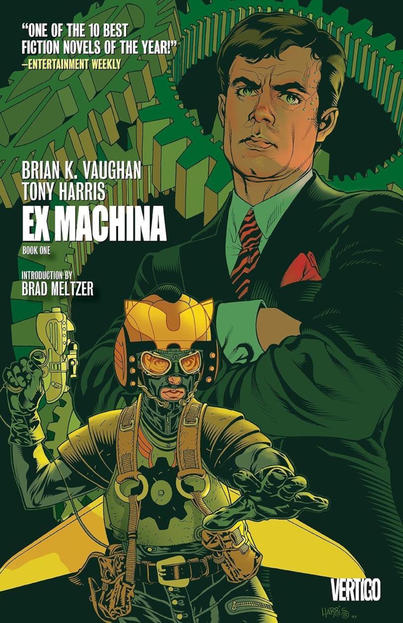La cover del fumetto di Ex Machina presenta un verde dominante e due personaggi