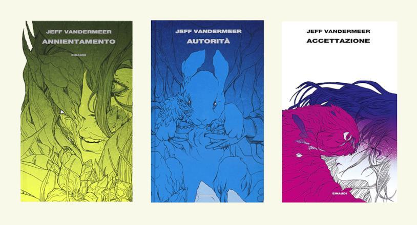 Le copertine di Annientamento, Autorità e Accettazione realizzate da LRNZ per Einaudi