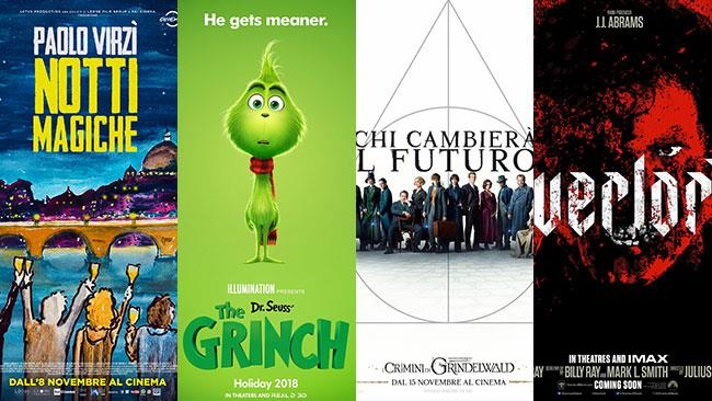I poster di Notti magiche, Il Grinch, Animali fantastici - I crimini di Grindelwald, Overlord