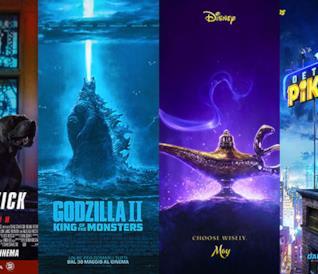 I poster di John Wick 3, Godzilla II, Aladdin, Detective Pikachu