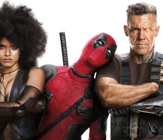 Il poster del film con Domino, Deadpool e Cable