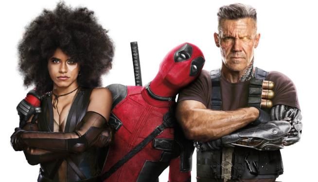 Il poster del film con Domino, Deadpool e Cable