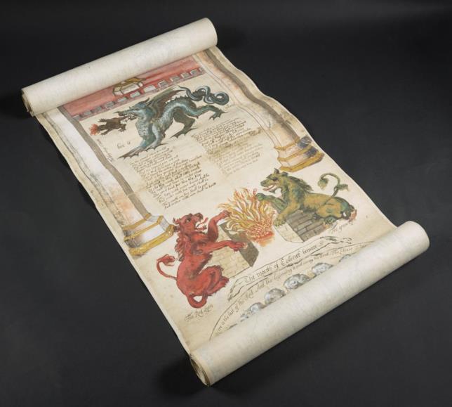 Dettagli del Ripley Scroll, documento lungo 6 metri.