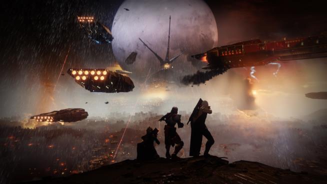Gli eroi di Destiny 2 assistono alla distruzione della Torre