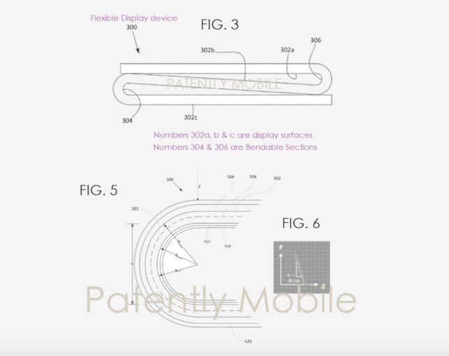 Bozza di un dispositivo pieghevole inclusa in un brevetto di Google