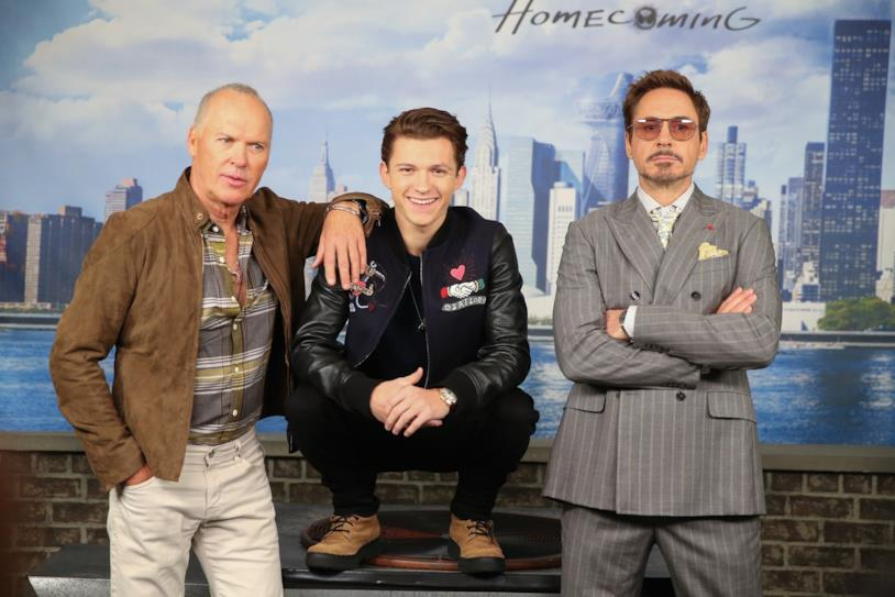 Michael Keaton, Tom Holland e Robert Downey Jr.