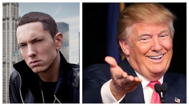 Primo piano di Eminem e Donald Trump
