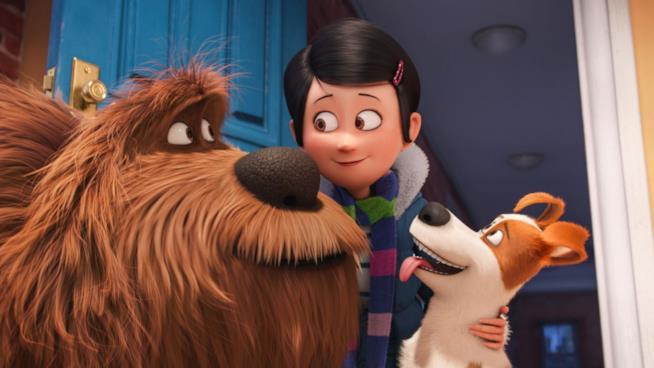 Duke. Katie e Max in una scena di Pets - Vita da Animali