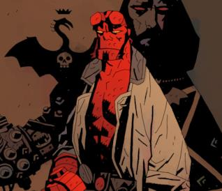 Hellboy di Mike Mignola dalla cover del fumetto Il Seme della Distruzione