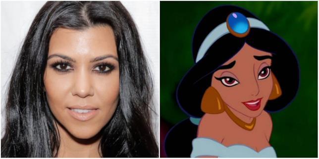 Un collage con il volto di Kourtney Kardashian e Jasmine