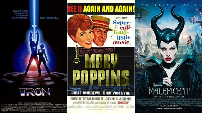 Le locandine dei film Tron, Mary Poppins, Maleficent