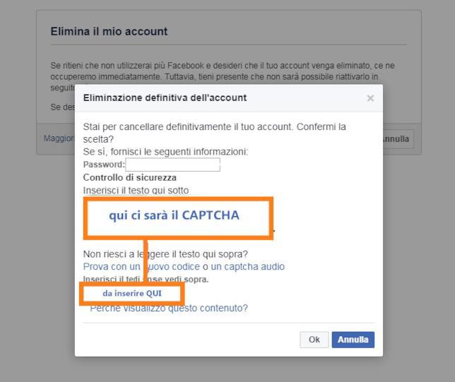 Captcha per disattivare il proprio account Facebook