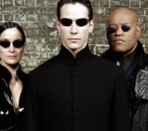 Trinity, Neo e Morpheus in un'immagine promozionale del film Matrix