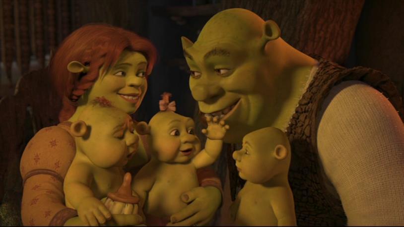Shrek e Fiona con i loro 3 piccoli orchetti
