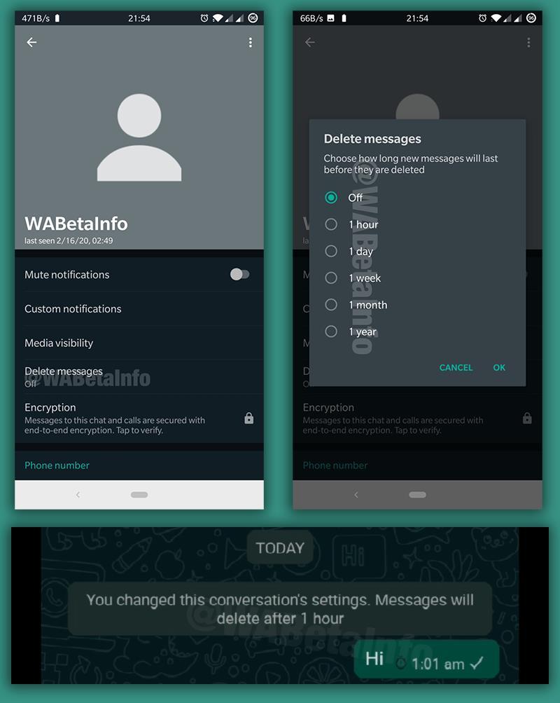 Screen della funzione per l'autodistruzione dei messaggi su WhatsApp