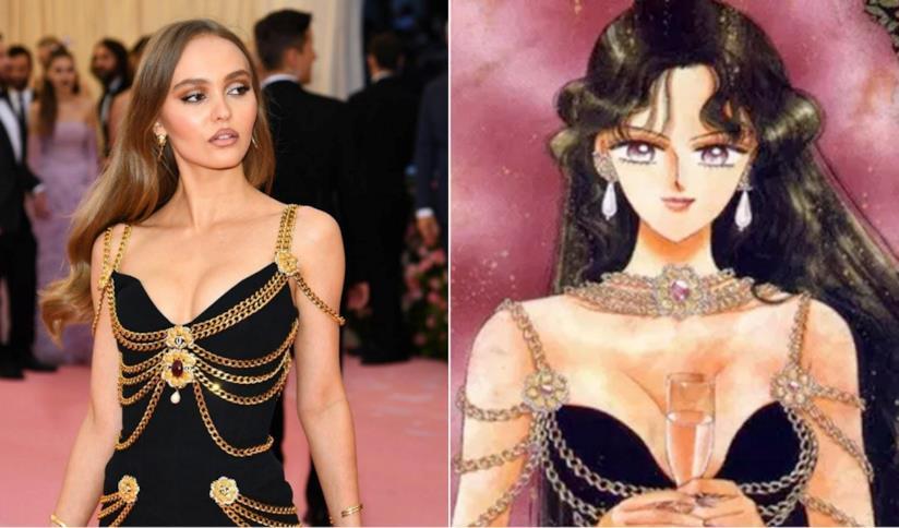 Collage tra Lily-Rose Depp e Sailor Pluto
