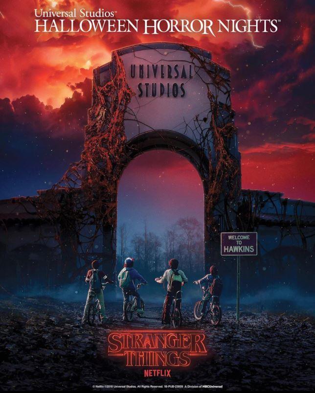 Primo piano della locandina dell'Halloween Horror Nght 2018 agli Universal Studios di Olando a tema Stranger Things