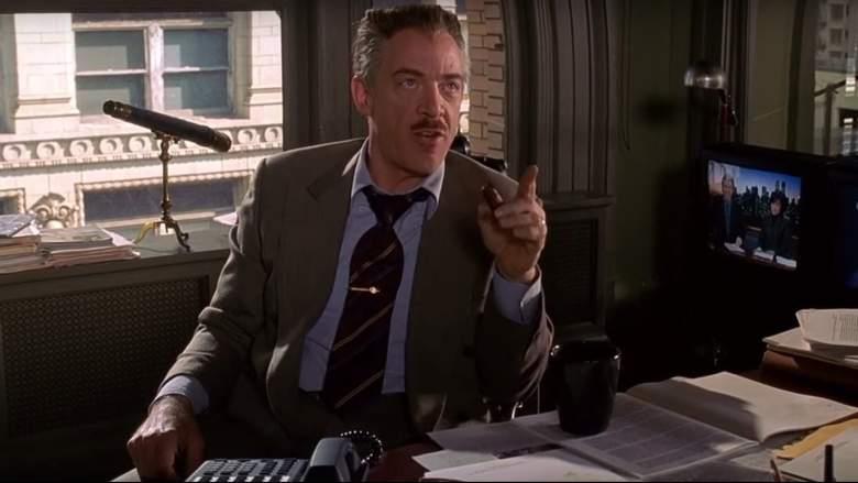 J.K. Simmons in una scena di Spider-Man diretto da Sam Raimi