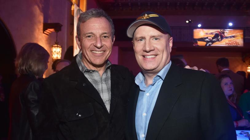 Bob Iger (sinistra) e Kevin Feige (destra) alla prima di Captain Marvel