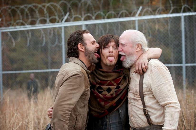 Rick, Daryl e Hershel sul set di The Walking Dead